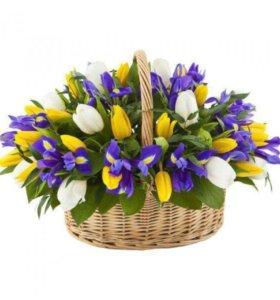 Цветочная корзина, корзина с цветами