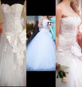 Свадебное белоснежное красивое платье