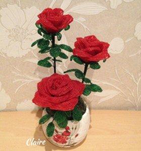 Розы из бисера, ручная работа, бонсай