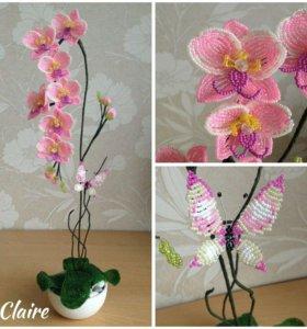 Орхидея из бисера, ручная работа, цветы