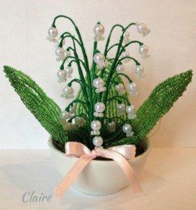 Ландыши из бисера, ручная работа, цветы