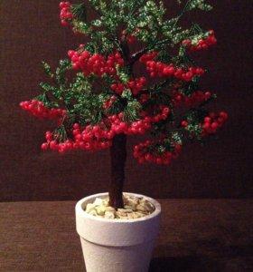 Рябина из бисера, ручная работа, цветы, дерево