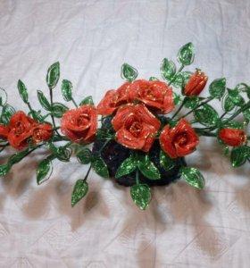 Цветы из бисера,в наличии и на заказ.