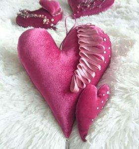 Текстильные сердечки-валентинки.
