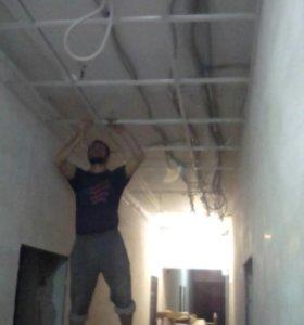 Монтаж гипсокартона подвесных потолков ламинат
