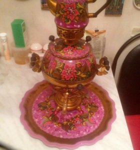Самовар Тульский с подносом и заварочным чайником