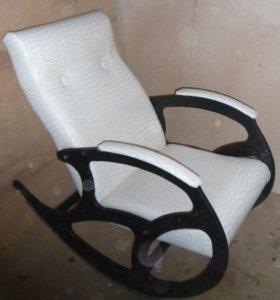 Кресло качалка Релакс, белый крокодил с золотом