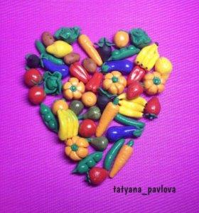 Овощи фрукты из полимерной глины.