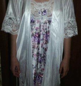 Шелковый халат с кружевом.(ночная сорочка)
