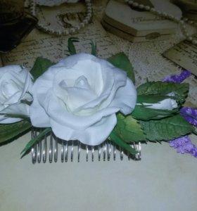 """Гребень """"Розы и лаванда """""""