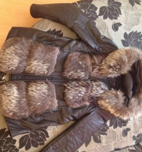 Куртка кожаная, с натуральным мехом)