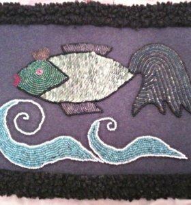Вышивка бисером золотая рыбка