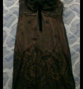 Вечернее кружевное шёлк платье