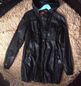 Кожаное пальто куртка