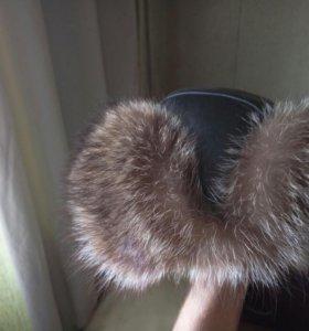 Шапка зимняя кожаная новая (енот)