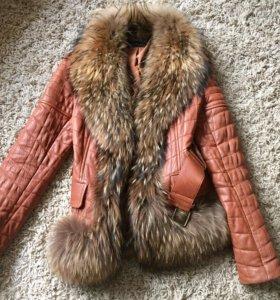 Куртка весна-осень натуральная кожа, мех енота