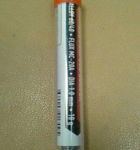 Припой ПОС 61 с канифолью, диаметр 1мм, 10 гр