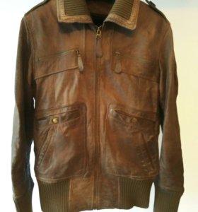 Кожаная куртка Mango с меховой подстежкой