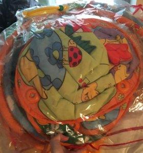 Большой детский коврик с игрушками погремушками