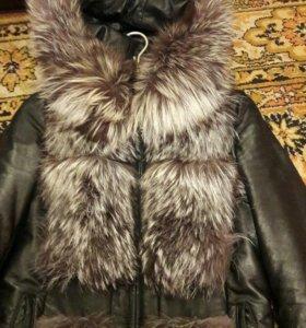 Обмен.Куртка  весна-осень нат.кожа и чернобурка.