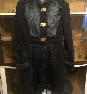 Пальто с натуральным мехом(кролик)