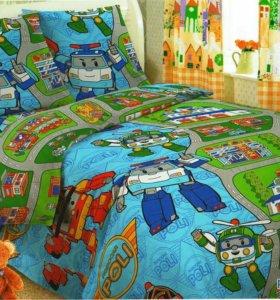 Поли робокар -постельное белье детское