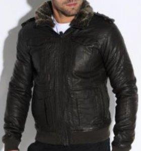Куртка oodji кожаная с мехом