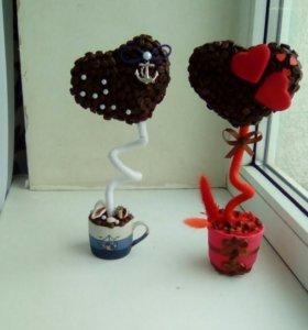 Кофейные топиарии валентинки