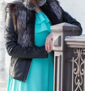 Кожаная куртка жилетка из чернобурки