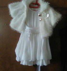 Платье шифоновое с шубкой