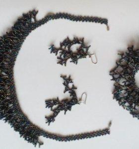 Колье, серьги и браслет из бисера новый