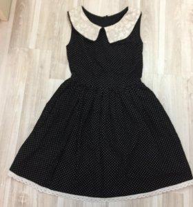 Платье из микровельвета в мелкий горошек