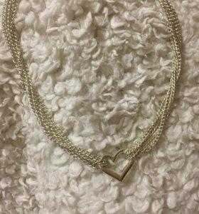 Набор ожерелье и браслет с кулонами в виде сердца