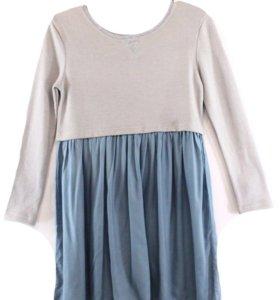 Новое серо - голубое Плиссированное платье