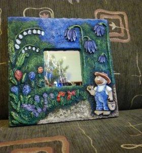 Зеркало с декором ручной работы