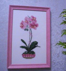 Картина «Орхидея», ручная работа. Вышита крестом.
