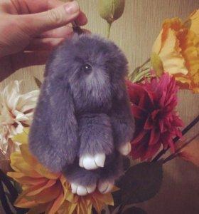 Кролик- брелок из натурального меха