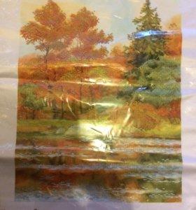Рисунок на шёлке для частич вышивки бисером