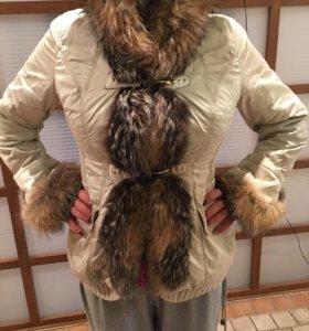 Итальянская зимняя куртка с натуральным мехом