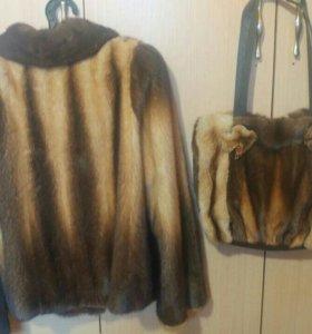 Норковая куртка+ сумка