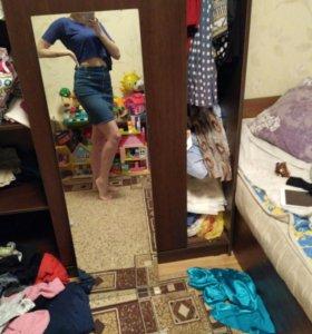 Джинсовая юбка на высокой талии