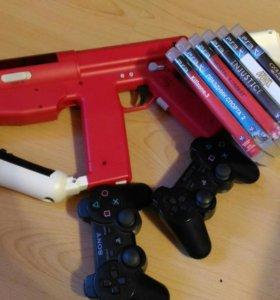 PS3 slim + ps move + автомат + игры
