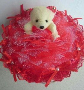 Букет из игрушки Мишка с сердцем