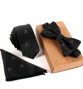 Набор галстук бабочка платок с черепом