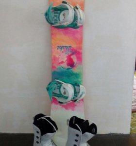 продаю сноуборд с креплением140 см и  ботинки