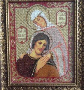 Икона вышитая бисером Петр и Феврония