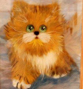 Котяшка картина из шерсти