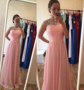 Новое длинное розовое выпускное вечернее платье