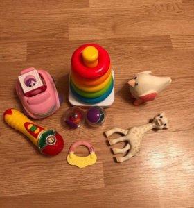 Детские игрушки, жирафик Софи, пирамидка