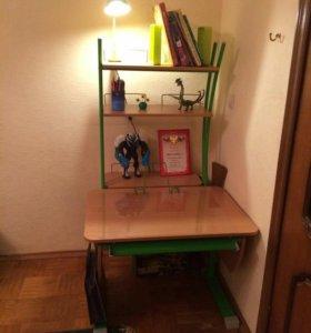 Комплект парта с надстройкой и стул + лампа (деми)